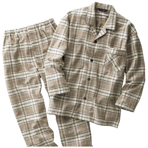 【SALE】 【メンズ】 日本製先染めツイル起毛格子柄パジャマ