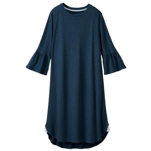 【レディース大きいサイズ】 フレア袖の綿100%ワンピース