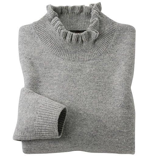 【レディース】 ウール100%洗える衿フリルセーター