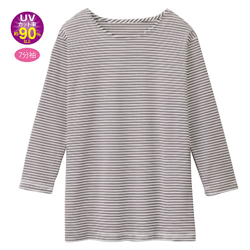 【レディース】 UVカットボーダー7分袖Tシャツの通販