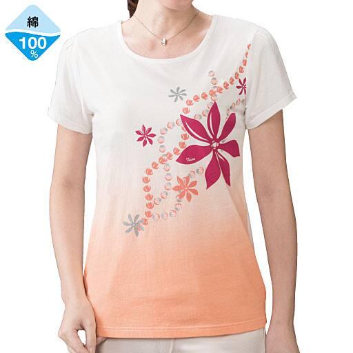 【レディース】 グラデーションプリントTシャツ