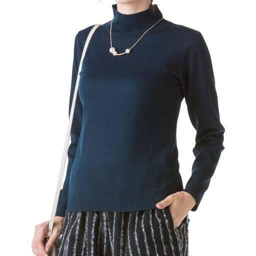 【レディース】 洗えるウール混ハイネックセーター