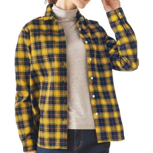 【レディース】 着心地やわらか綿100%フランネルシャツの通販