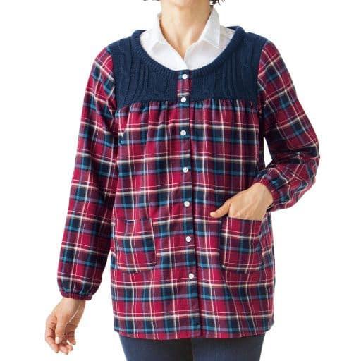 セーター切り替フランネルかっぽう – セシール
