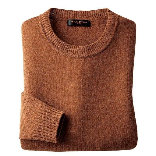【レディース】 毛100%クルーネック洗えるセーター