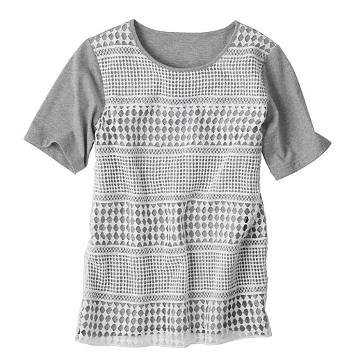 【レディース】 デイリーコットンレースデザインTシャツの通販