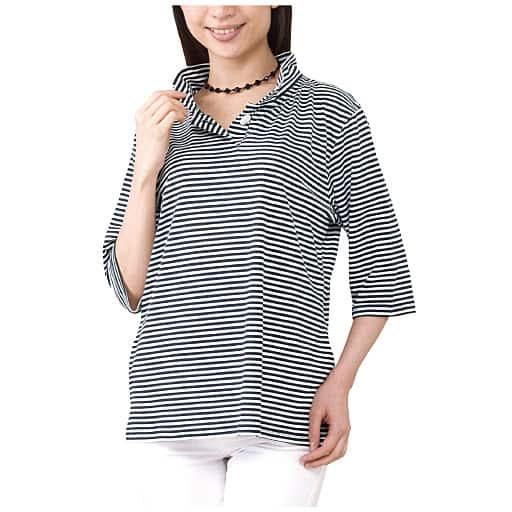 【レディース】 UVカット付衿付きボーダー7分袖Tシャツの通販