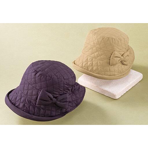 キルトのお出かけリボン帽子