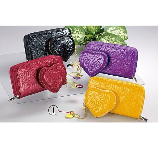 バラの型押しペア財布 長財布・小銭入れセットの通販