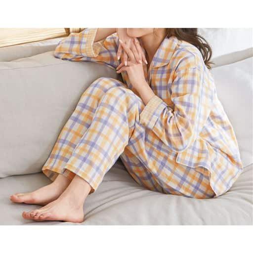 【レディース】 チェック柄シャツパジャマ(綿100%)(二重ガーゼ)
