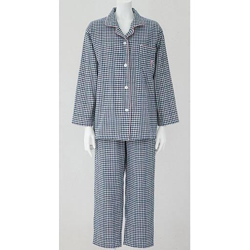 【レディース】 人気のチェック柄シャツパジャマ(綿100%)(二重ガーゼ)の通販