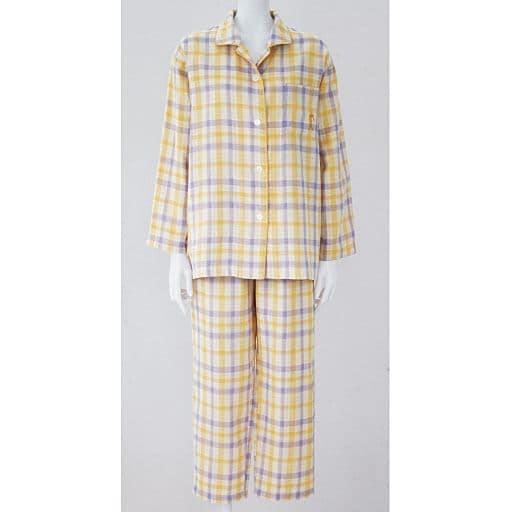 【レディース】 人気のチェック柄シャツパジャマ(綿100%)(二重ガーゼ)
