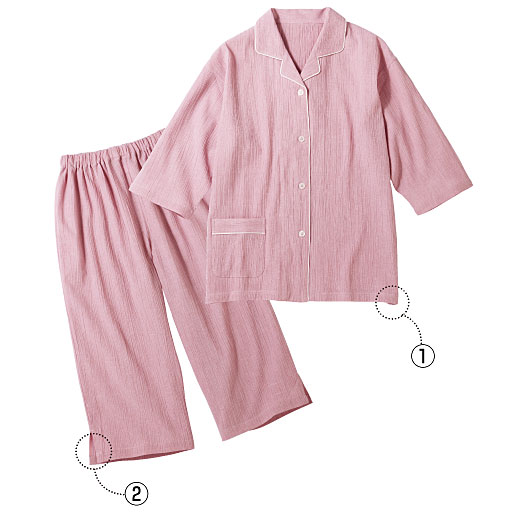 【レディース】 綿100%抗菌加工の楊柳シャツパジャマ