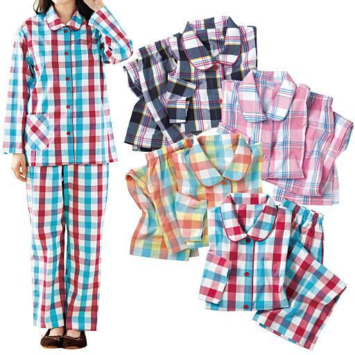 【レディース】 前開きチェック柄シャツパジャマ(綿100%)