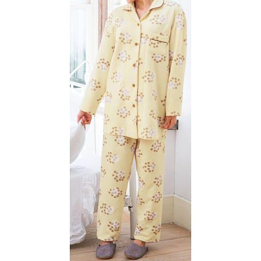 【レディース大きいサイズ】 ニットキルトシャツパジャマ(肌側綿100%)