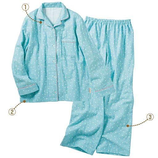 【レディース】 柔らか3重ガーゼシャツパジャマ