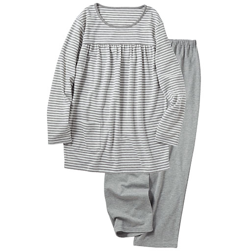 【レディース】 胸元ギャザーTタイプパジャマ