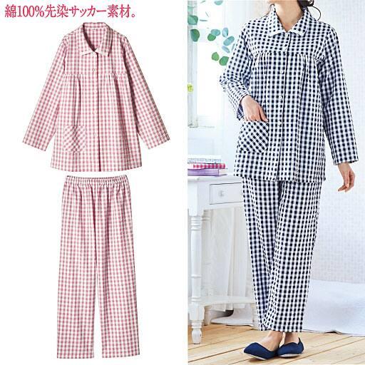 【レディース】 シャツパジャマ(綿100%)