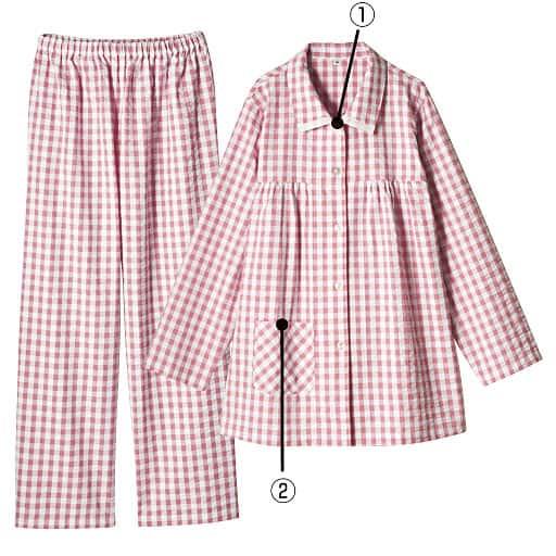【SALE】 【レディース】 シャツパジャマ(綿100%)