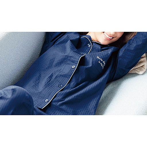 【レディース】 綿100%のストライプサテンシャツパジャマ