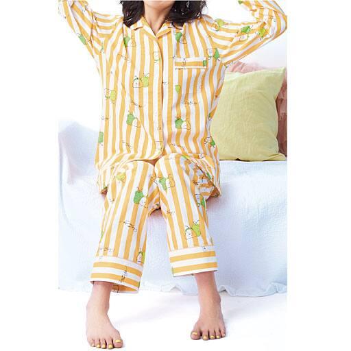 【SALE】 【レディース】 洋梨柄のパイピングシャツパジャマの通販