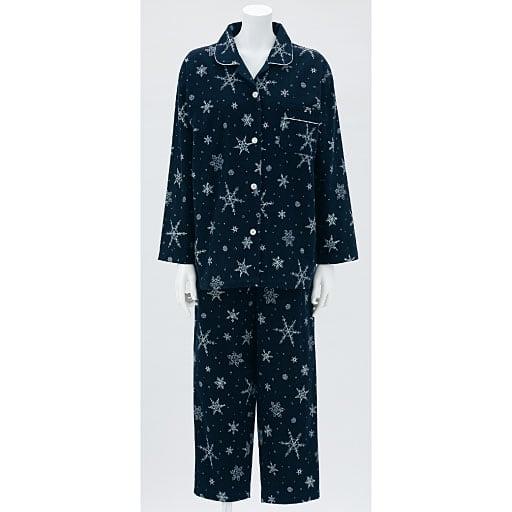 【SALE】 【レディース】 雪の結晶柄が可愛いネルシャツパジャマ(日本製)の通販