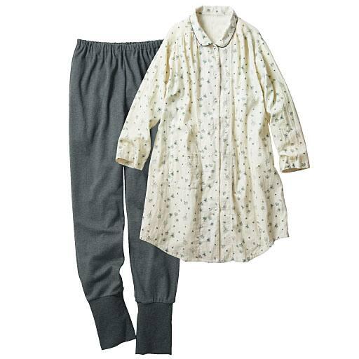 【SALE】 【レディース】 花柄ガーゼの足すっぽりパジャマの通販