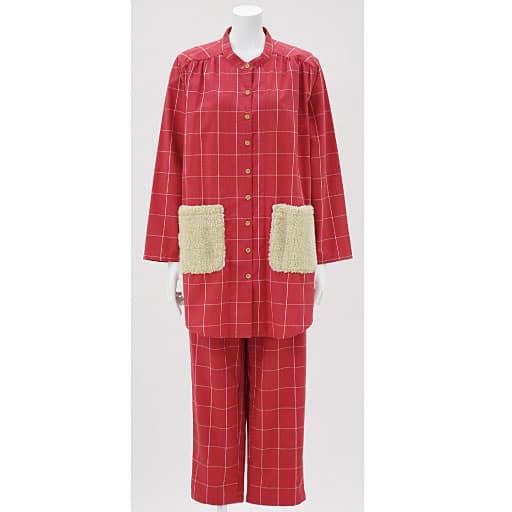 【SALE】 【レディース】 ボアポケット付きスタンドカラーパジャマ(綿100%)(チェック柄)