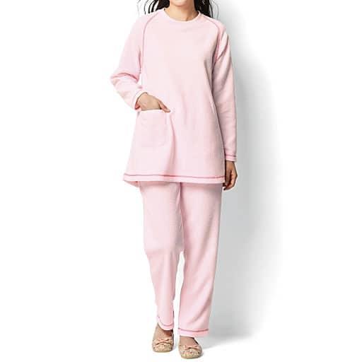 【SALE】 【レディース】 飾りステッチがアクセントのテリークロスパジャマ(無地)
