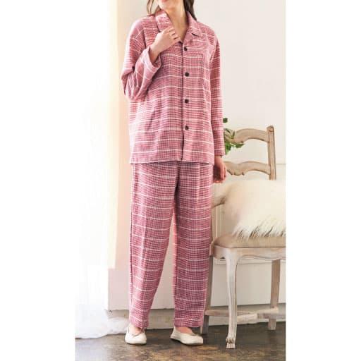 【SALE】 【レディース】 綿100%ネルシャツパジャマ(男女兼用・日本製)の通販