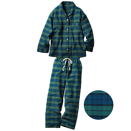 【SALE】 【レディース】 ネル起毛シャツパジャマ(綿100%)の通販