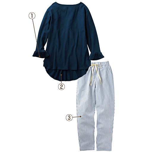 【レディース】 フレア袖のチュニック丈パジャマ