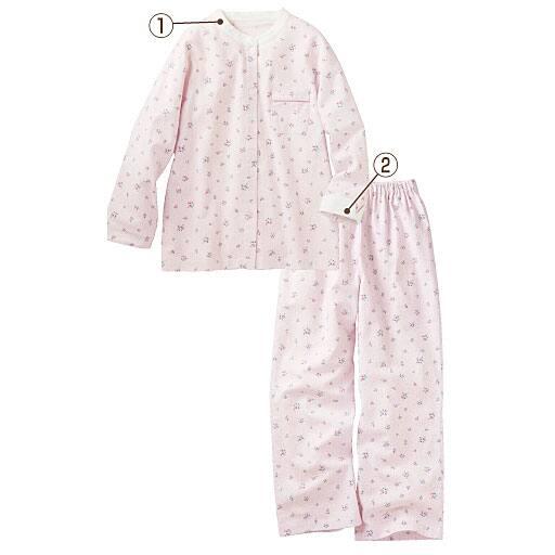 【レディース】 小花柄が可愛いスタンドカラーパジャマ – セシール