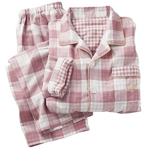 【レディース】 柔らかガーゼパジャマ(綿100%・男女兼用)の通販