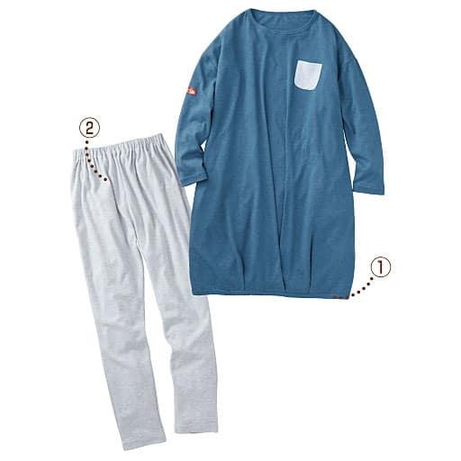 【レディース】 裾タック入りチュニック丈パジャマ