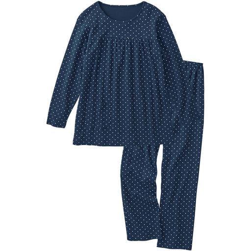 【SALE】 【レディース】 胸ギャザーのドット柄パジャマ(綿100%)
