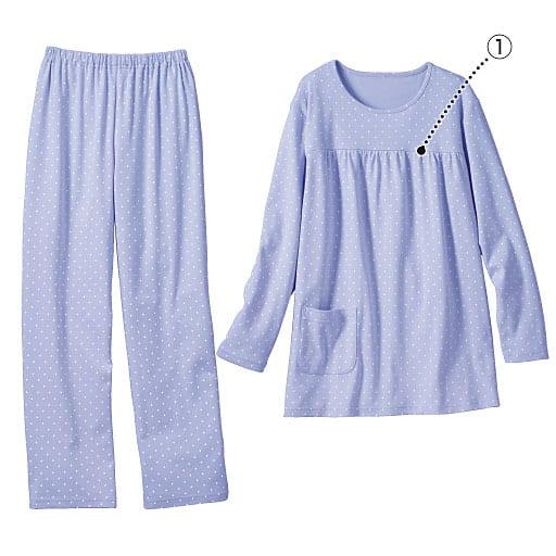 【レディース】 胸ギャザーのドット柄パジャマ(綿100%) – セシール