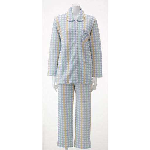 30%OFF【レディース】 裏綿キルトシャツタイプパジャマ(日本製) - セシール
