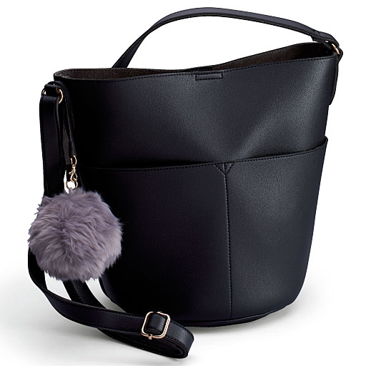 【SALE】 【レディース大きいサイズ】 バケツ型バッグ(ファーチャーム付き)