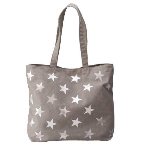 【レディース大きいサイズ】 星柄プリントトートバッグ