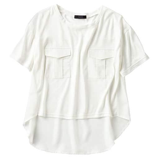 【SALE】 【レディース】 ポケット付き異素材使いTシャツの通販