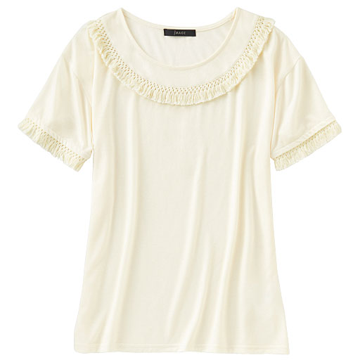 【SALE】 【レディース】 フリンジ使いTシャツ – セシール