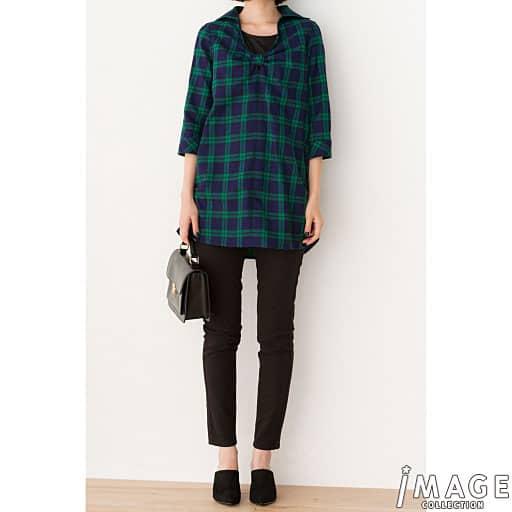 【SALE】 【レディース】 チェックチュニックシャツ&ロングタンクの通販