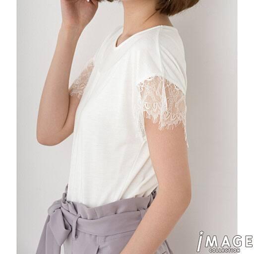 【SALE】 【レディース】 レーススリーブTシャツの通販