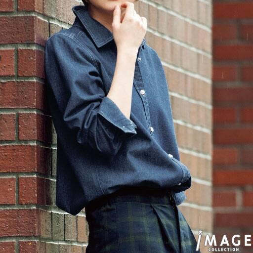 【SALE】 【レディース】 ビジューボタン使いデニム風シャツの通販