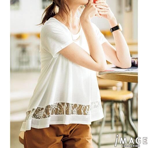 【SALE】 【レディース】 裾レース切り替えフレアTシャツの通販
