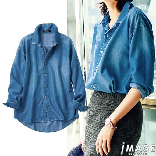 【SALE】 【レディース】 ドロップショルダーデニムシャツの通販