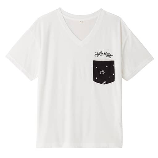 【レディース】 ハローキティ 星柄ポケット付きゆるTシャツの通販