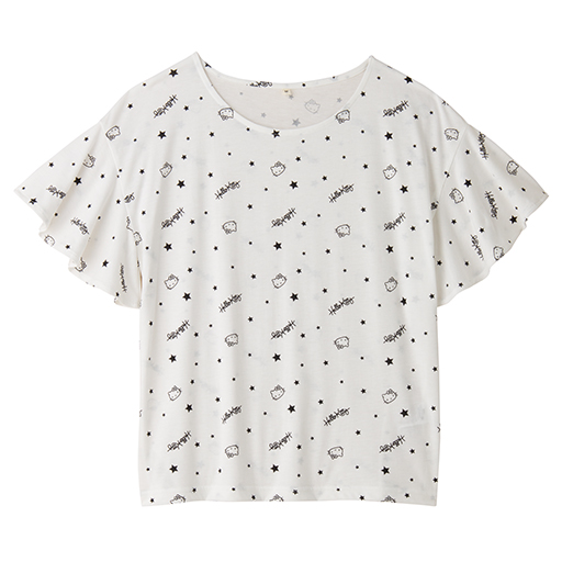 【SALE】 【レディース】 ハローキティ 星柄フレア袖Tシャツ
