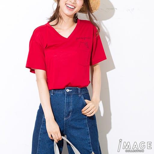 【レディース】 ハローキティ 手書き風ロゴポケット付きゆるTシャツの通販